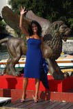 Maria Grazia Cucinotta arrives at the Hotel Excelsior by boat during the 65th Venice Film Festival