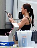 Hayden Panettiere as brunette shows some cleavage on the set of Heroes in Los Angeles