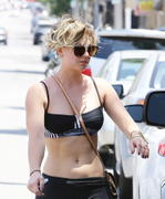 Kaley Cuoco in bra and spandex leaving yoga class in Los Angeles 06/23/14